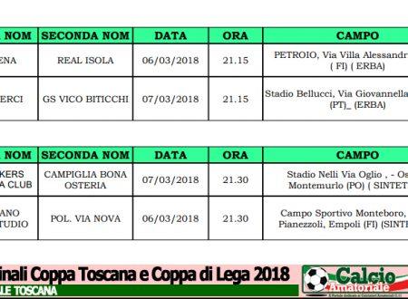 Coppa Toscana e Coppa di Lega: Ecco le date delle Semifinali 2018